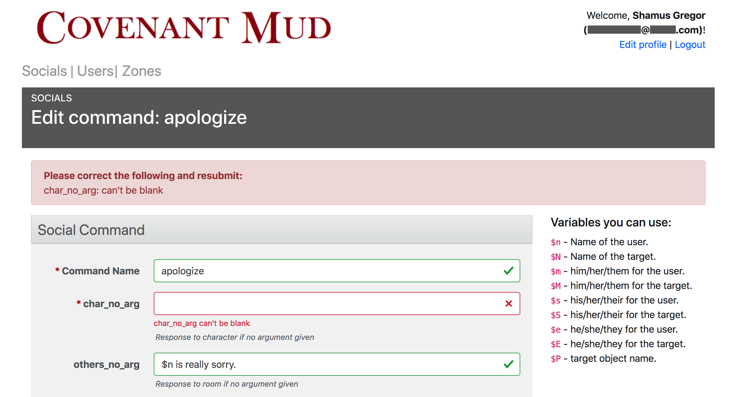 Screenshot of a web form in the Tierceron Construction Set. The form is showing edit options for the 'apologize' social command